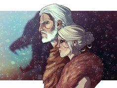 Geralt & Ciri by domirine