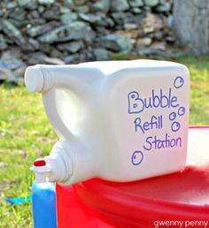 "Yet another thing I'm pretty sure I already pinned.... Bubble ""Refill"" Station - This mommy rinsed out the laundry detergent container several times, removed the labels, used a Sharpie to decorate it, and filled the container with bubble soap. Now kids can have easy OUTside access to fill up their own bubble shooters/toys. Seriously, a great idea during summer!"