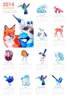 2014 Calendar, Geometric prints, Original illustrations, Animal prints, Minimal art