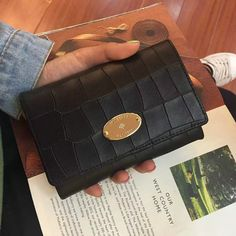 2016 New Mulberry French Purse in Black Deep Embossed Croc