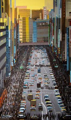 """GINZA, TOKYO 4"" By Socrates Rizquez - Enamels on melamine. www.socrates-art.es"