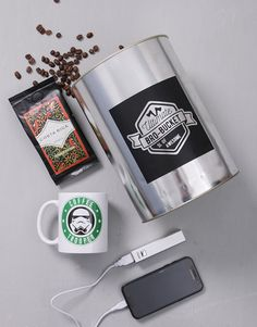 gifts: Coffee Trooper Bro Bucket! This Star Wars-themed gift is bound to keep the recipient entertained for hours. The bro bucket contains a mug, a powerbank, usb cable, and coffee beans. Place your order today and NetFlorist will deliver the Star Wars gift for him, on your behalf!