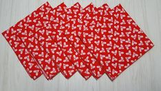 Christmas Cloth Napkins White Holly Berries on Red Lunch Dinner 12 Inch Set of 6