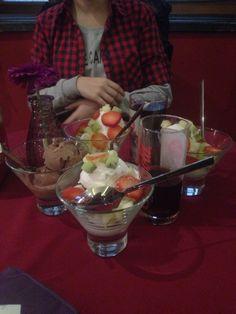 Fruit ice creams and chocolate ice cream,,, yummi