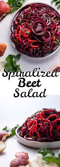 This spiralized raw beet salad with blood oranges is a refreshing vegan salad that takes advantage of vitamin-packed winter produce, is easy to make, and looks beautiful! #easybeetsalad