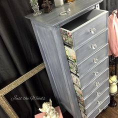 This beautiful lingerie dresser features our cut glass knobs on front! From Just the Woods!