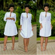 Very pretty white dress African Print Dresses, African Print Fashion, African Fashion Dresses, African Dress, Fashion Outfits, Pretty White Dresses, Simple Dresses, Cute Dresses, Casual Dresses