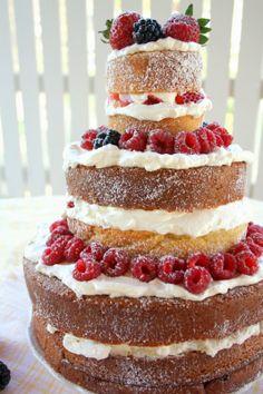 Naked Cake ~ home baked Cupcakes, Sponge Cake, Yams, Let Them Eat Cake, Vanilla Cake, Sweets, Baking, Desserts, Chocolates