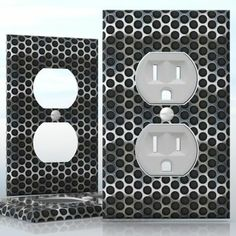 DIY Do It Yourself Home Decor - Easy to apply wall plate wraps | Perforation #2  Dark metal pattern  wallplate skin sticker for 1 Gang Wall Socket Duplex Receptacle | On SALE now only $3.95