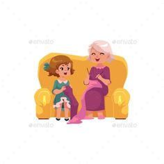 Grandmother teaching her little granddaughter to knit, cartoon vector illustration isolated on white background. Old lady, grandparent, grandmother knitting with granddaughter, happy family concept