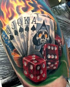 Male Flaming Dice Tattoo Designs