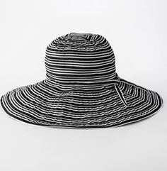 089c067a 4 buttons by San Diego Hat Co. Ribbon Striped Floppy Hat Canvas Hat, Ribbon