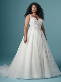 Maggie Sottero - TAYLOR LYNETTE Plus Size Ball Gown Wedding Dress. This beaded bodice is designed to support and enhance your gorgeous hourglass figure. Try on this plus-size sparkling ball gown wedding dress for major fit and flattery. Wedding Dress Pictures, Sexy Wedding Dresses, Wedding Dresses Plus Size, Designer Wedding Dresses, Bridesmaid Dresses, Gown Wedding, Wedding Attire, Wedding Bells, Lace Wedding