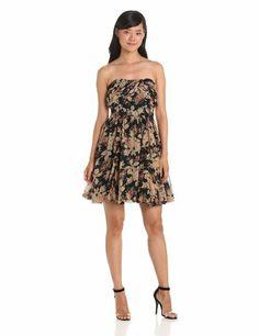 Anna Sui Women's Rosie Posie Print Chiffon Strapless Dress, Black Multi, 2