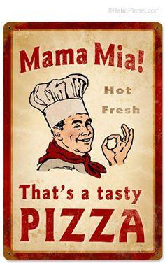 image of Mama Mia Pizza Metal Sign