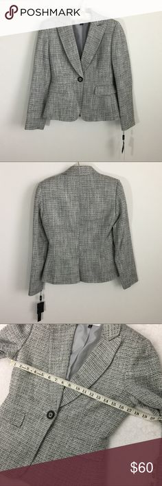 NWT [Tahari] Size 2 Crochet Career casual Blazer -Tahari -NEW WITH TAGS -Size 2 -Career, Casual blazer -Gray Crochet -Measurements and material tag in pictures Tahari Jackets & Coats Blazers