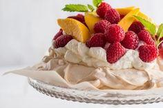 In Season: Raspberry Mango Pavlova with Lemongrass White Chocolate Cream Pavlova Recipe, Chocolate Cream, Lemon Grass, Raspberry, Mango, Baking, Table, Desserts, Recipes