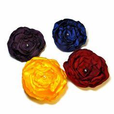 Fabric Flower Brooch, Silk Flower Brooch, Silk Flower Pin