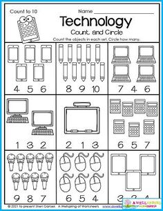 Kindergarten math Counting worksheets Technology, technology....it's everywhere! Even in the classroom. So here's a back to school worksheet to celebrate the abundance of it all! Kids count how many in each set and circle the number. Can they identify each item? The calculator may be a little hard.... Please check out my entire set of September Counting Worksheets. It included themes of summer, fall, back to school and apples. I'm sure you'll really enjoy it! Counting Worksheets For Kindergarten, Back To School Worksheets, Summer Worksheets, Kids Count, Counting For Kids, Learn To Count, Math Resources, Summer Fall, Calculator