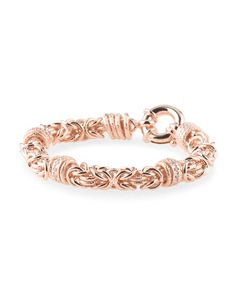 image of Made In Italy Rose Gold Plated Bronze Byzantine Bracelet