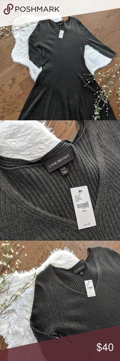 *NWT* Lane Bryant Gray Sweater Dress 14/16 V-Neck 3/4 sleeve sweater dress Lane Bryant Dresses Long Sleeve