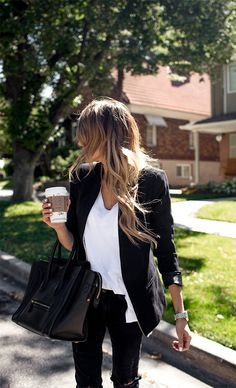 blazer and boyfriend tee
