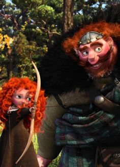 *MERIDA & KING FERGUS ~ Brave, Fergus teaching his little daughter Merida how to shoot with a bow and arrow. Disney Dream, Disney Love, Disney Magic, Disney Art, Disney Stuff, Disney Fairies, Disney And Dreamworks, Disney Pixar, Walt Disney