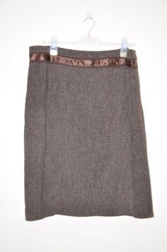 Ladies skirt *S21* Principles - brown tweed style - silky bow - size 18
