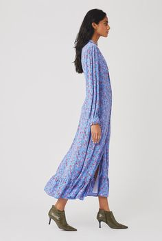 Anouk Dress | Ghost.co.uk Spirit Clothing, Fabric Covered Button, Crepe Fabric, Simple Style, Ruffles, Harem Pants, Feminine, Shirt Dress, Floral