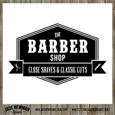 Barber shop 4 retro vintage logo design by jadenewmandesigns Barber Sign, Barber Shop Decor, Barbershop Design, Barbershop Ideas, Lettering, Typography Design, Shop Signage, Vintage Logo Design, Shop Logo