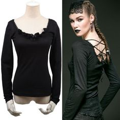 Sexy Black Long Sleeve Low Cut Back Gothic Burlesque Fashion Top Women SKU-11409024