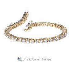 Cubic Zirconia 6 Carat Round Tennis Bracelet In 14K Yellow Gold By Ziamond. $1195 #ziamond #cubiczirconia #cz #bracelet #jewelry #diamond #tennis