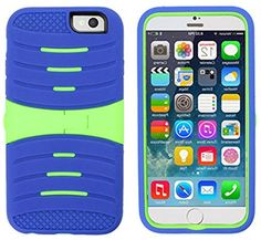 """myLife Cerulean Blue and Green {Hard Shell Kickstand Design} 3 Layer FLEX Hybrid Case for the NEW iPhone 6 (6G) 6th Generation Phone by Apple, 4.7"""" Screen Version (Two Piece Internal Fitted Hard Protector Snap Shell + Full Body External Silicone EASY-Grip Bumper Gel Protection) myLife Brand Products http://www.amazon.com/dp/B00NP5J54O/ref=cm_sw_r_pi_dp_SlNtub1245MDZ"""