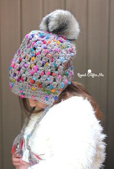 30e56576d51 Crochet Patons Peak Puff Stitch Pompom Hat