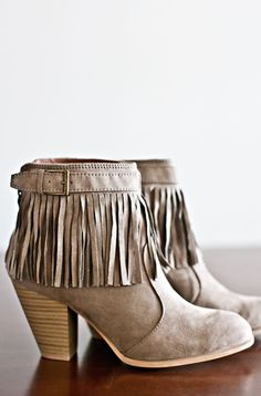 Parker Fringe Booties-Taupe
