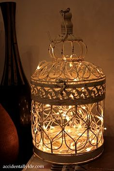 currently my birdcage is sitting on the floor by my vanity bench..not cool. thankful for this fairy light idea.