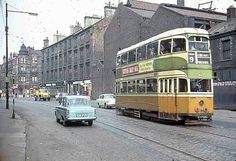 Glasgow tram on London Road operating on route 9 between Dalmuir West & Auchenshuggle. (1962) Pic: Paul Riley