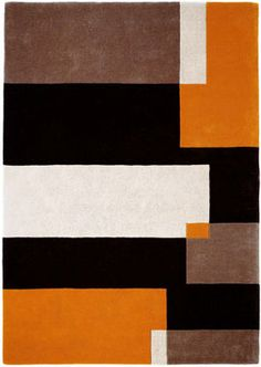 Modern Rugs Brown White Black Orange Abstract Rug Contemporary Carpet