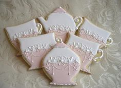 Tea Time Decorated Cookies - lovely for a little girl's Birthday Tea Party! Fancy Cookies, Iced Cookies, Cute Cookies, Royal Icing Cookies, Cupcake Cookies, Cupcakes, Sugar Cookies, Teapot Cookies, Biscuit Cookies