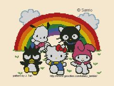 Hello Kitty and friends Pattern Sanrio Wallpaper, Hello Kitty Wallpaper, Cross Stitch Designs, Cross Stitch Patterns, Baby Canvas, Pochacco, Hello Kitty Items, Beaded Cross Stitch, Canvas Patterns