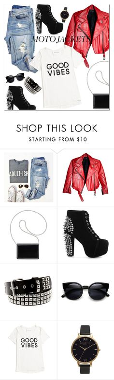 """""""After Dark: Moto Jackets"""" by chicoshint ❤ liked on Polyvore featuring Nine West, Jeffrey Campbell, Hot Topic, Tommy Hilfiger and Olivia Burton"""