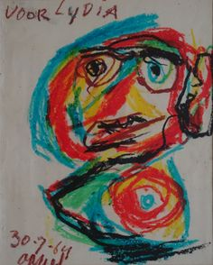 Portret Lydia  Karel Appel (1921-2006) wasco tekening, gedateerd 30-7-'64, Formaat: 23 x 29 cm.