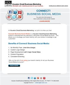 Here an example of one of Houston Small Business Marketing Email Blast campaigns.  This is what we create for clients in our Houston Email Marketing plan.