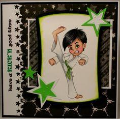 "Redonkadoodles.com - ""Karate Kick Boy"" Digital Stamp - Handmade sports Card By: Kim"