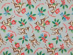 Bambi Christmas Blue, Cath Kidston Oilcloth per yard #CathKidston