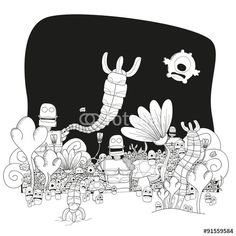 Vector: Robots attack to fantasy world #fotolia #illustration #fantasy #world #monsters #children #kids #happy #fun #land #flowers #party #cover #print #poster #card #postal