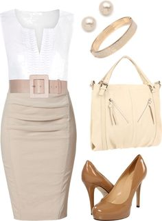 """Khaki and White"" by jennifercapps on Polyvore"