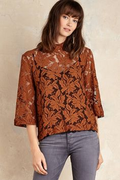 Tessie Lace Blouse, Brown