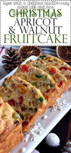 Jump to Recipe Print RecipeA common Christmastime tradition is fruitcake, and there's so many varieties to choose from. My version is free of alcohol and loaded with both candied and dried fruit, as well as walnuts. Christmas Apricot and Walnut Fruitcake… Xmas Food, Christmas Sweets, Christmas Cooking, Christmas Fruitcake, Christmas Cakes, Christmas Fruit Cake Recipe, Christmas Time, Christmas Squares, Desserts Français