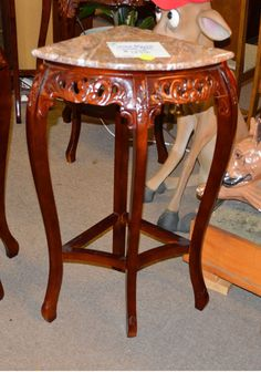 Carved Mahogany Corner Marble Top Table